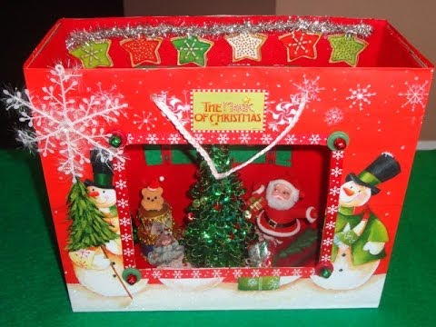 How to Make a Shadow Box Christmas Scene in a Gift Bag!