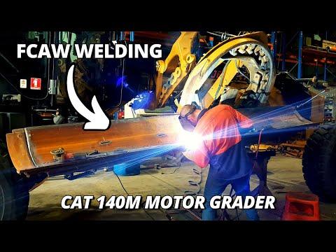 Repairing Blade on a Caterpillar 140M Motor Grader   FCAW Welding