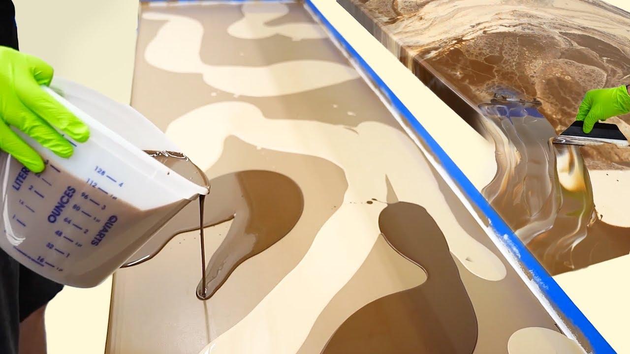Pouring Epoxy With Leggari For Unique Colors & Designer Counter Surfaces - Chocolate & Cream