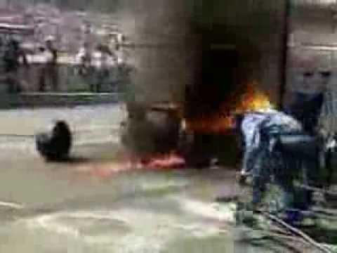 F1 Pit Stop Fire Accident - 1994 German GP, Jos Verstappen ...