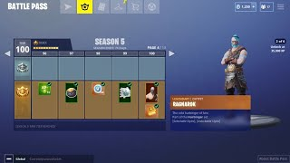 BUYING ALL 100 TIERS! Season 5 Battle Pass ALL ITEMS UNLOCKED on Fortnite Mobile!