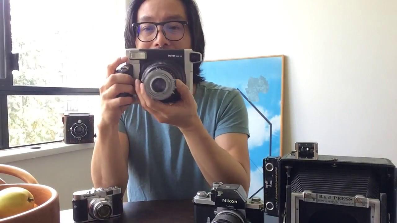 Fuji Instax Wide 300 camera hack mod with a vintage Schneider Kreuznach  105mm F4 5 Radionar lens