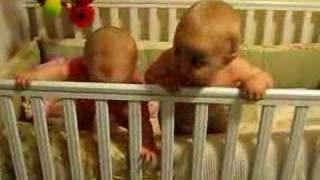Twins Playing In The Crib
