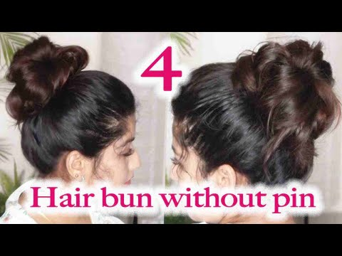 4-new-high-bun-hairstyles-for-summers-without-pin-/-high-bun-without-pins-/-high-bun-hairstyle