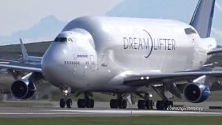 Head-On Boeing DreamLifter 747LCF Landing @ KPAE Paine Field