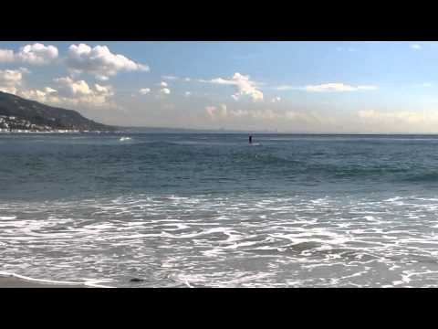 MVI 1369 Santa Monica buildings from Malibu Beach   surf paddle boarder 12 14 2012