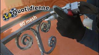 La quotidienne : Démonstration sablage de table en Fer Forgé avec sableuse K40 (garnet 80)