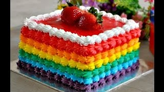 Simple Eggless Rainbow Layer Cake with Rainbow Frosting