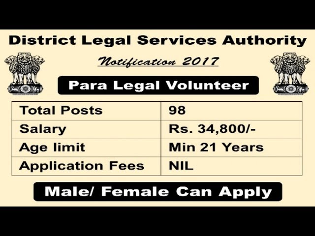 District Legal Services Authority Recruitment 2017   All over India jobs   Apply Now