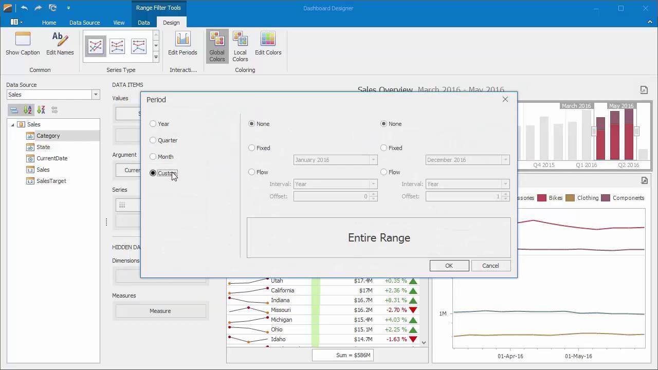 DevExpress Dashboards: Predefined Ranges for the Range Filter