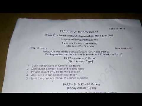OU MBA SEM 4 BANKING AND INSURANCE QUESTION PAPER 2018
