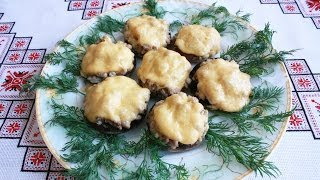 Фаршированные шампиньоны рецепт Блюда из грибов Фаршировані печериці фаршированные грибы шампіньйони