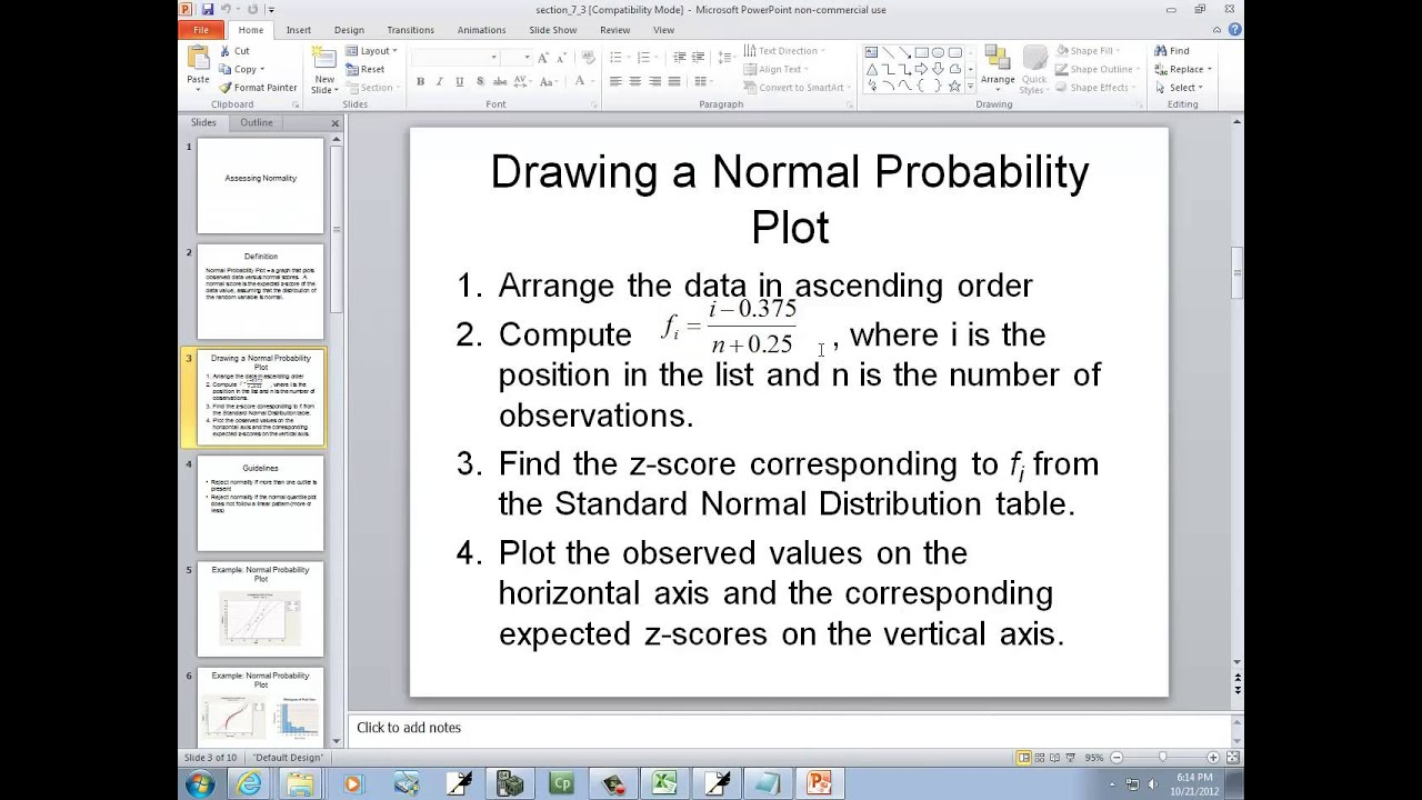 normal probability plot excel  Excel 2010: Creating a Normal Probability Plot - YouTube