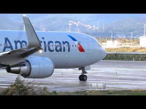 PSatB [WATERSPRAY] American AIrlines Boeing 767 Take-off Barcelona-El Prat! & More!