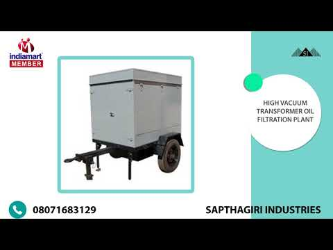 Oil Conditioning Plants And Commissioning Services By Sapthagiri Industries, Malur