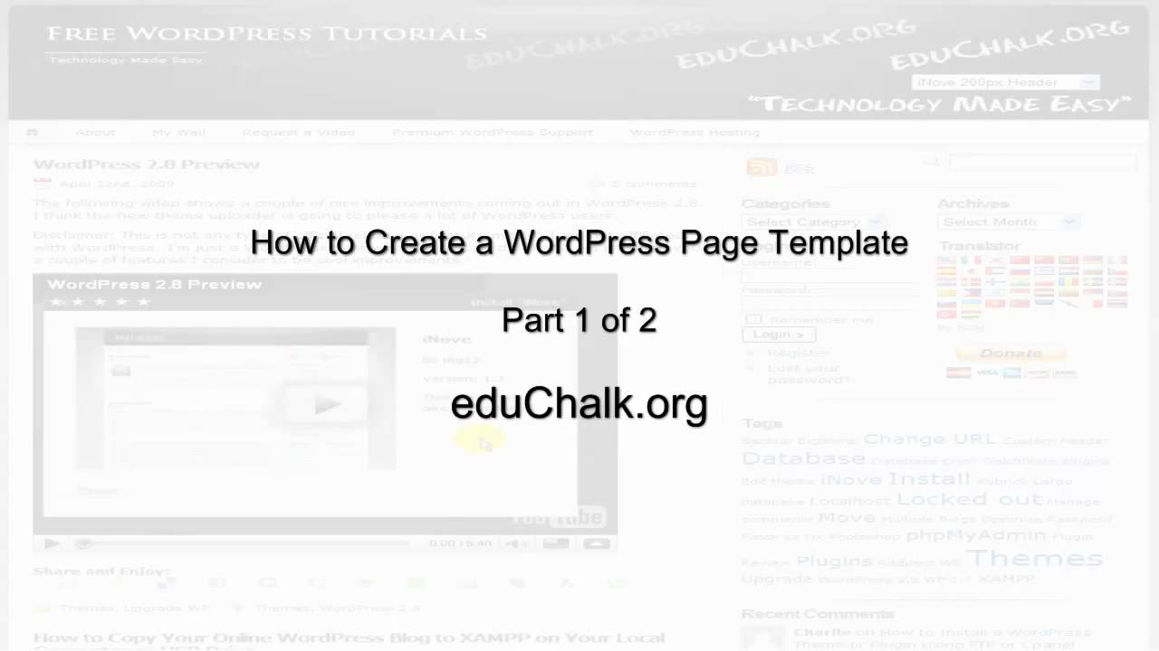 How to Create a WordPress Custom Page Template -- Part 1 of 2 - YouTube