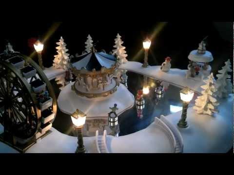 Christmas Magic Winter Wonderland Animated Village Carnival Skating Pond with Music