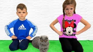 Masha and Vania play with a Cat and older Dad