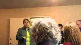 Kansas State Democratic Party Chair Joan Wagnon addresses the party