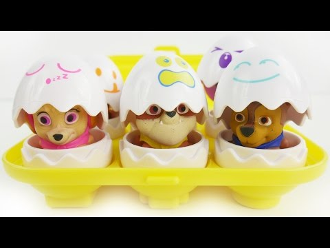 PAW PATROL Nickelodeon Surprise Eggs Toys LEARN COLORS with Chase, Skye, Marshall, Rubble Play Doh