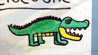 How to draw a cartoon crocodile for kids