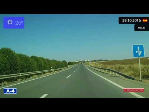 Driving through Andalucía (Spain) from Sevilla to Córdoba 29.10.2016 Timelapse x4