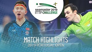 Zhang Yudong vs Stefan Fegerl | 2019 ITTF Challenge Plus Portugal Open Highlights ( R64 )