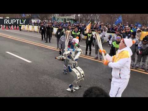 Robo-Olympics: Robot takes part in 2019 Winter Olympic Games torch relay in South Korea