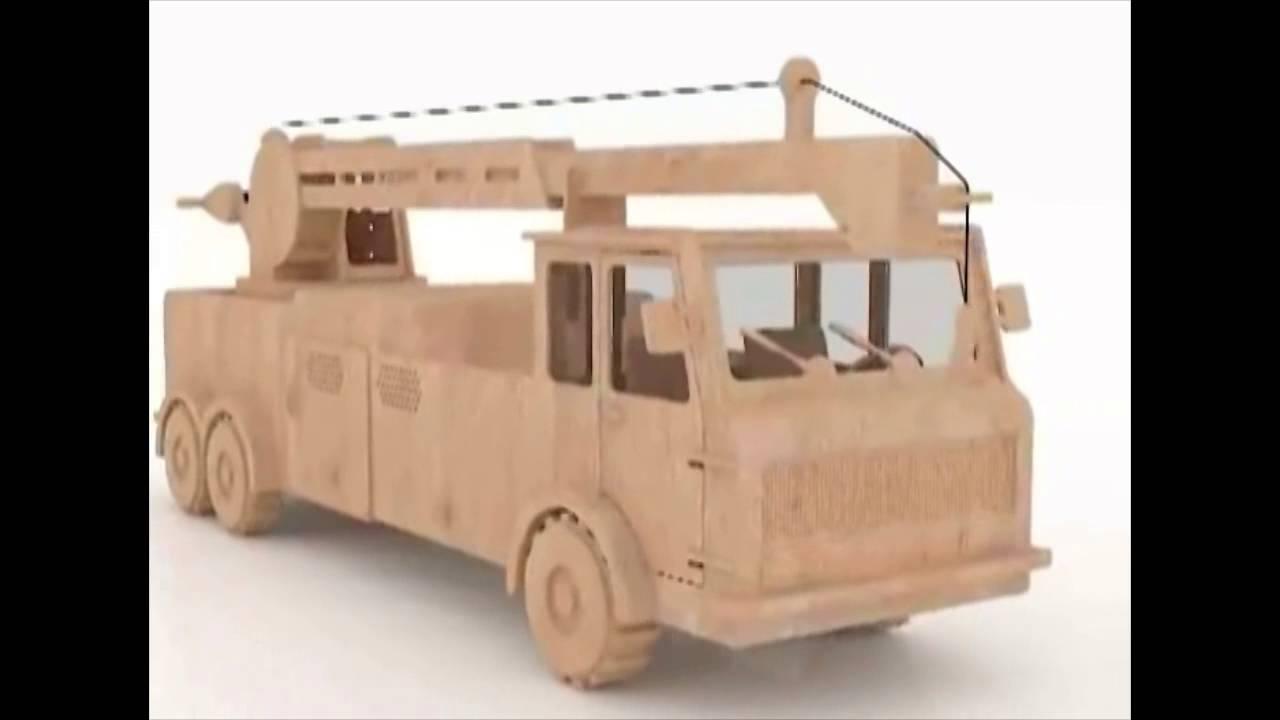 Crane truck 3d puzzle wood toy plans for CNC Router or ...