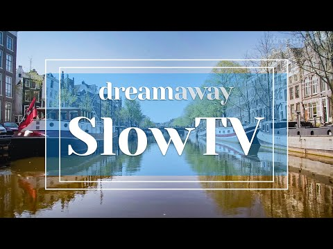 A Quiet Day in Amsterdam - (1h SlowTV Video & Audio Canals of Amsterdam) [Relax, Study, Work, ASMR]