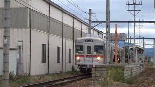 [長野電鉄] 北須坂駅到着/発車シーン 3500系/8500系 [Nagano Electric Railway] Arrival/departure scene 3500/8500 series