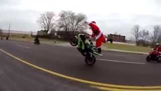 Santa Gone Wild: Bike Stunting Santa Claus Take Over The Highway Breaking All Rules! | Santa Stunt