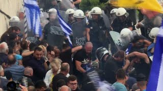 Protesters clash with police amid Macedonia name row