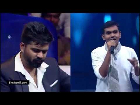 STR in Vijaytv Supersinger -Vinnaithaandi Varuvaayaa - Omana Penne Tamil Lyric | A.R. Rahman
