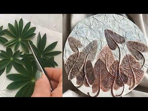 Plaster flowers. Tutorial / Отпечатки растений. Гипс. Мастер-класс. Молодой лопух.
