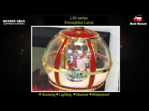 LED lights musical christmas snowing dome street lamppost