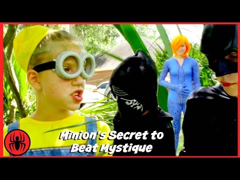 New Kids X-men Minion Secret, Batman vs Mystique superhero real life movie fun comic SuperHeroKids