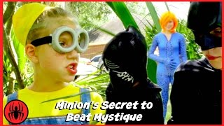 New Kids X-men Minion Secret, Batman vs Mystique superhero real life movie fun comic SuperHeroKids