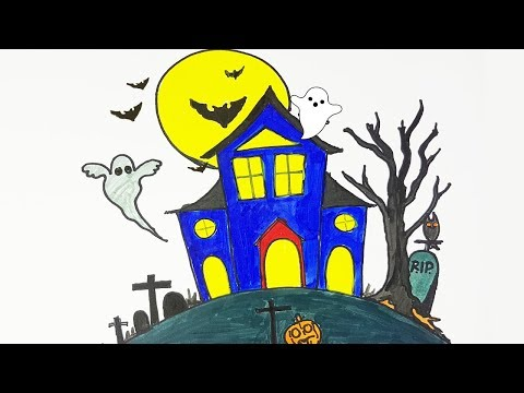 Halloween Special: Drawing a Haunted House | How to Draw a Haunted House Easy Step by Step and Color