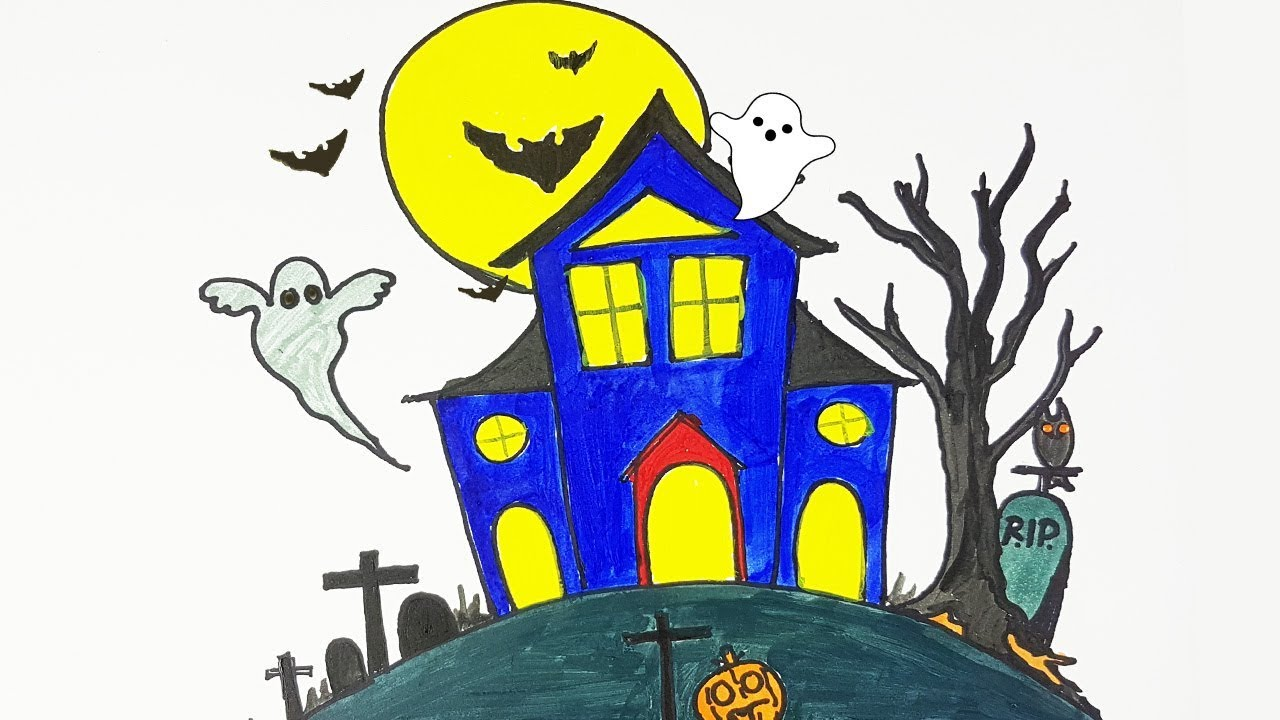 Halloween Spooky House Drawing.Halloween Special Drawing A Haunted House How To Draw A Haunted House Easy Step By Step And Color