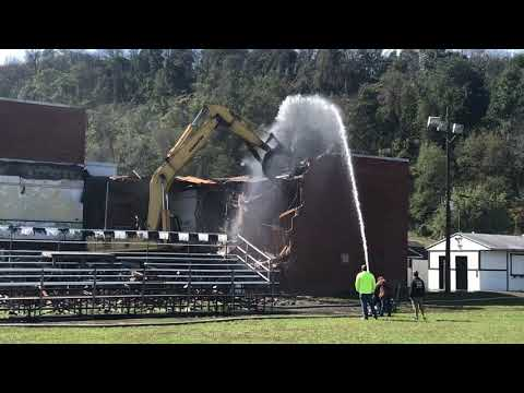 Demolition began Monday on the old Ridgeley High School