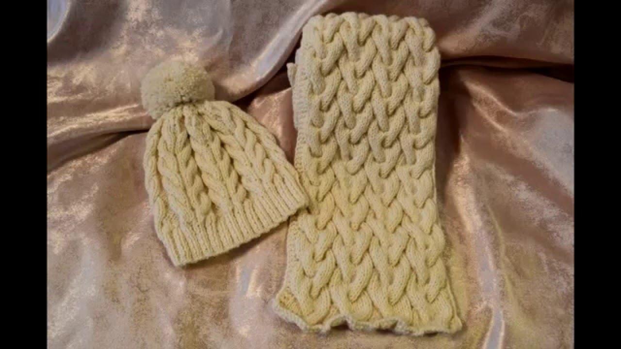 Сиреневый осенний комплект спицами: шапка и шарф - YouTube