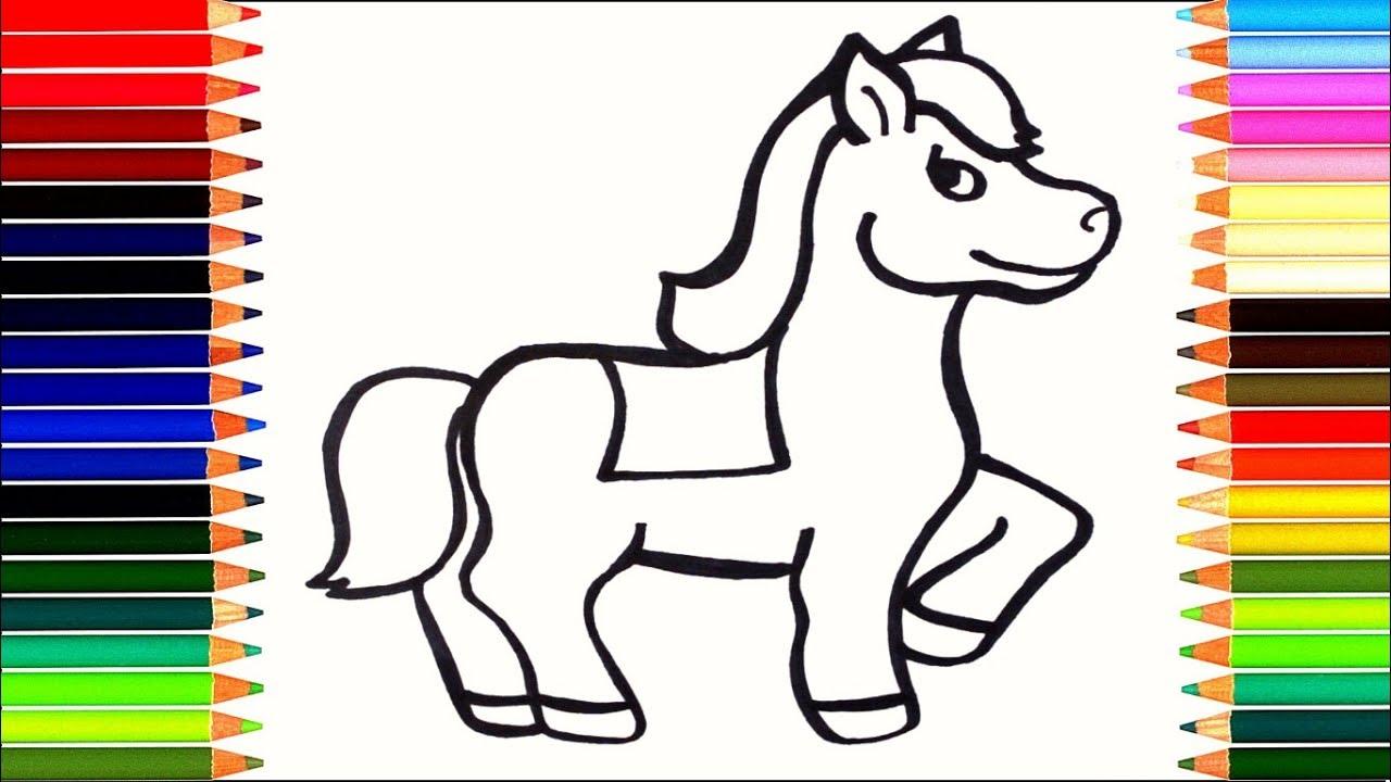 Как нарисовать лошадку / мультик раскраска лошадка для ...