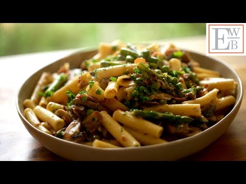 Spring Pasta with Mushrooms, Asparagus, Peas and Prosciutto