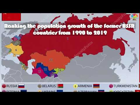Рейтинг рост населения бывших стран СССР с 1990 до 2019.