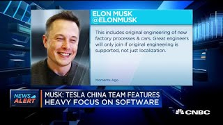 Musk on twitter: tesla building major engineering team in china