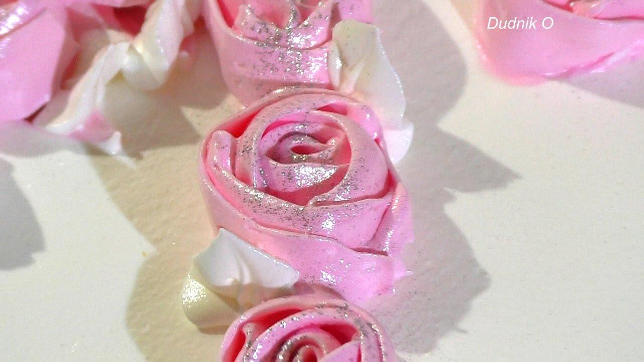Кремовый торт с цветами Как украсить торт белковым кремом  Cream cake with flowers