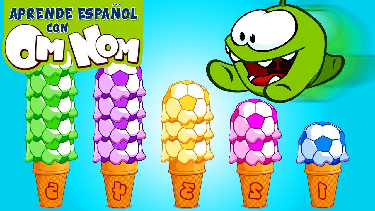 Om Nom cuenta del 1 al 5 y aprende los colores con bolas de helado | Aprende Español con Om Nom