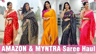 Amazon and Myntra Some of best Sarees collection Review and Haul