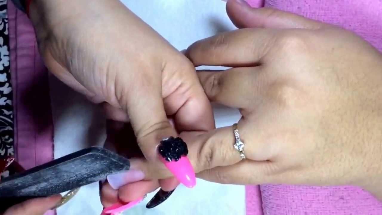 Uñas de acrilico con esmalte - YouTube